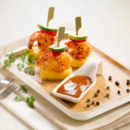 Bouchées de polenta et crevettes marinées façon tapas