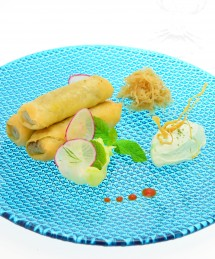 Nem de canard confit au wasabi, confit de choucroute