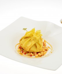 Aumônière de crêpes à la crème de citron et pommes tatin