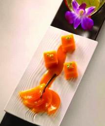 Gelée de mangue confite, jus de kiwi