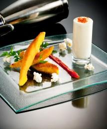 Suprêmes de volaille panés à la polenta, espuma au maïs et au piment d'Espelette