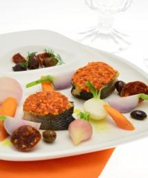 Bouchées de bar en croûte de spaetzle et chorizo, légumes fondants