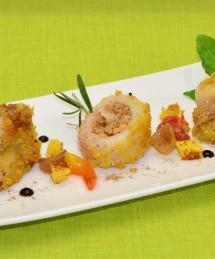 Blinis de maïs, rouelle de sole au beurre de guarana, condiment à l'huile de sésame et oignons grillés