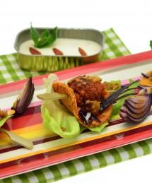 Kefta végétarien façon kebab, condiment aux tomates vertes et notes de ketchup