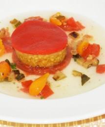 Ravioles végétales, boulgour gourmand à la riste d'aubergines